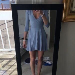 Lulu*s Beautiful Light Blue Wrap Dress